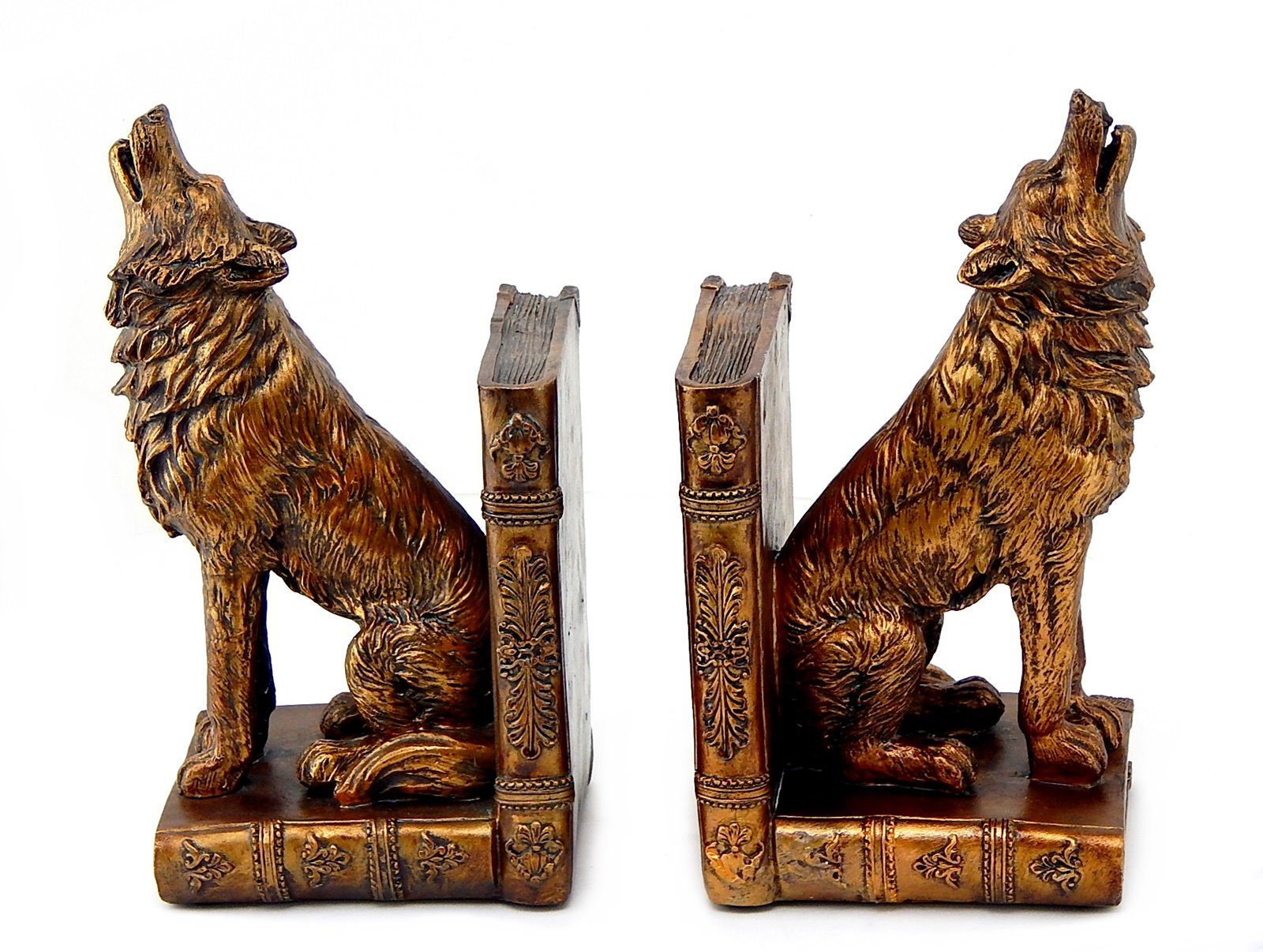 Bellaa 26362 Howling Wolf Bookends 7 Inch