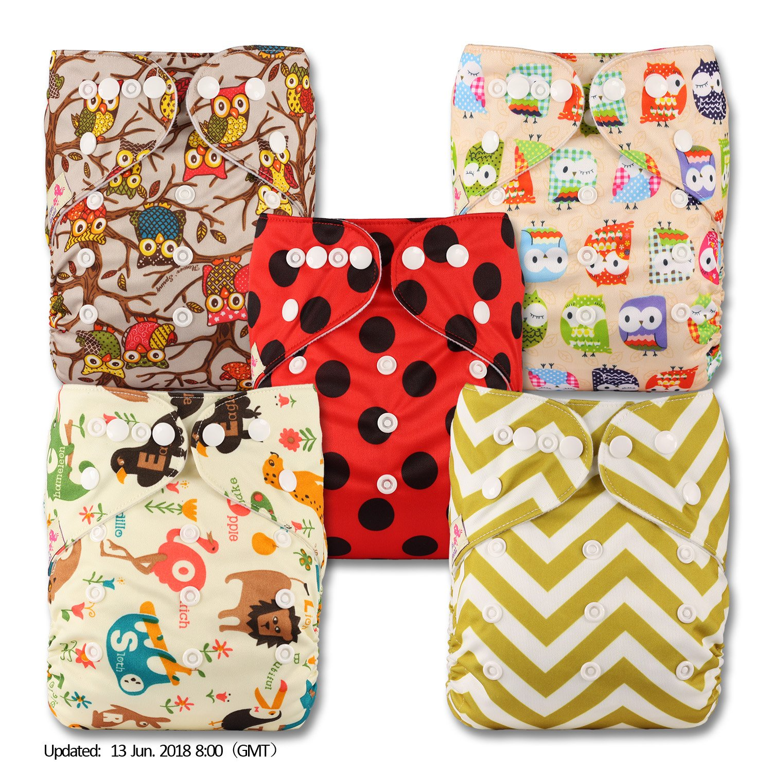 Fastener: Popper Set of 5 Patterns 509 Reusable Pocket Cloth Nappy Without Insert Littles /& Bloomz