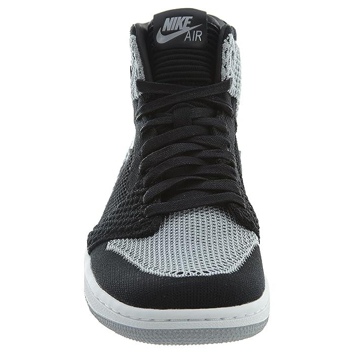 lowest price df87c 4a89b Amazon.com   Jordan Nike Men s Air 1 Retro Hi Flyknit Black Grey 919704-003  (Size  9)   Fashion Sneakers