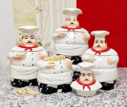 Bistro Fat Chef Canister Set Ceramic Kitchen Decor