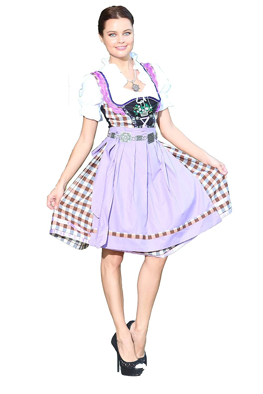 Oscartrachten, 3tlg. Dirndl-Set - Trachtenkleid, Bluse, Schürze - Dirndl midi lila-Brau kariert
