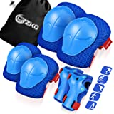 CRZKO Kids/Teenagers Protective Gear, Knee Pads and Elbow Pads 6 in 1 Set with Wrist Guard and Adjustable Strap for Rollerbla