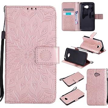Funda LG K5 Case , Ecoway Girasoles patrón en relieve PU Leather Cuero Suave Cover Con Flip Case TPU Gel Silicona,Cierre Magnético,Función de ...