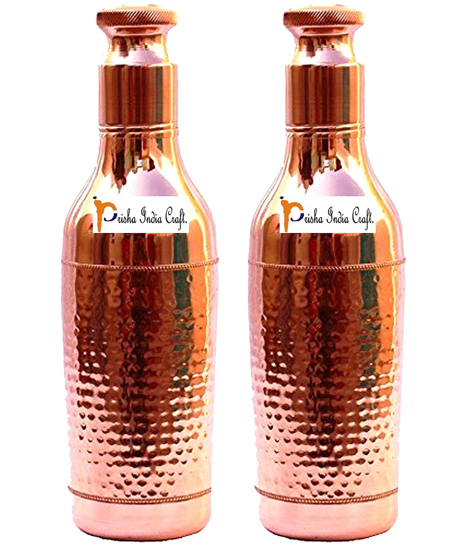 Prisha Indien Craft® 1000 ML/33 oz - 2ER SET - Reines Kupfer Schwere Auslaufsicheren Flasche Wein Form neues Design aus reinem Kupfer Wasserflasche - Sport Wasserflaschen mit Flasche Reinigungsbürste Prisha India Craft
