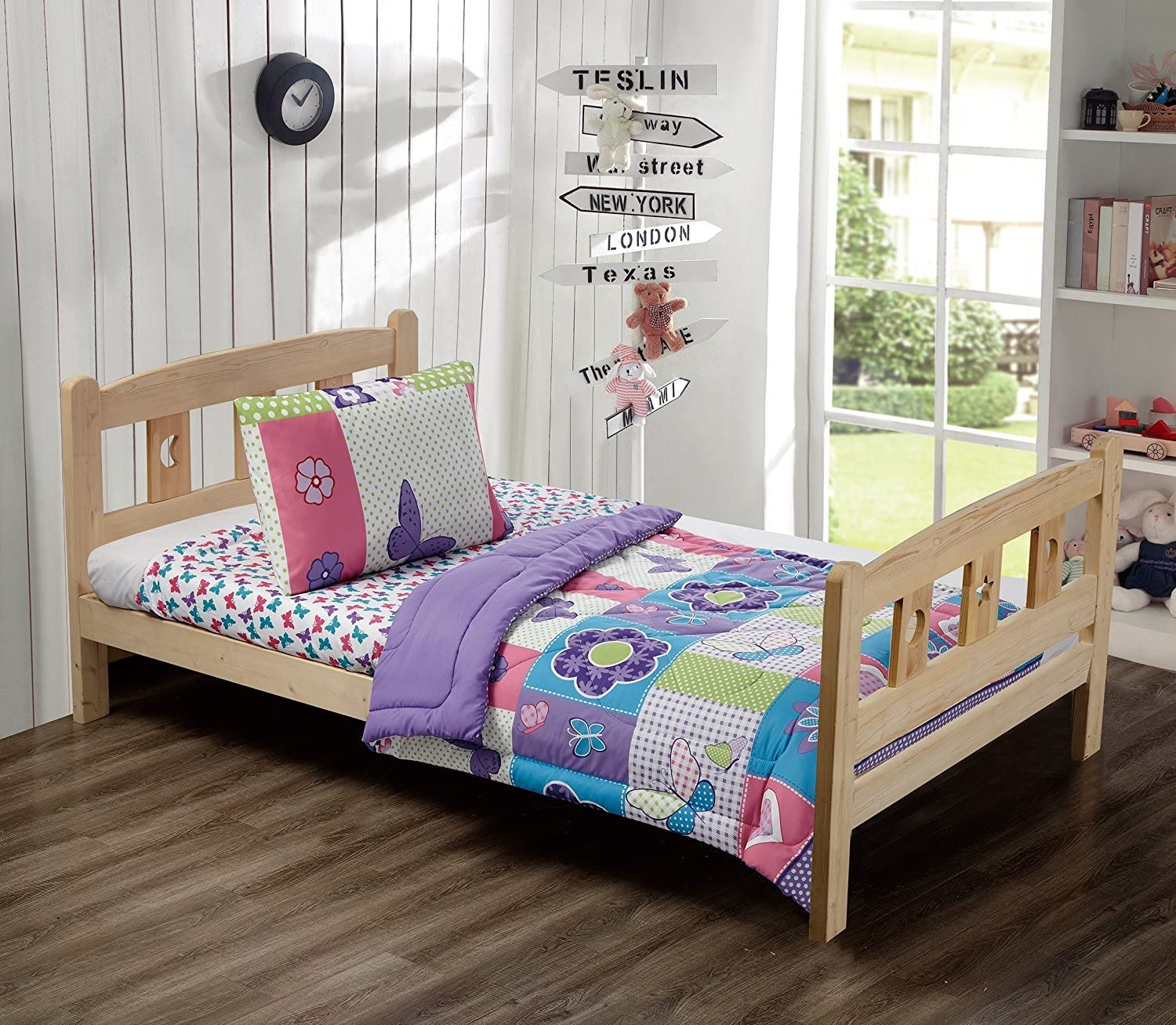 MK Home Mk Collection 3 Pc Toddler Bed Butterfly Purple Pink Turquoise Green Flowers Girls Teens New