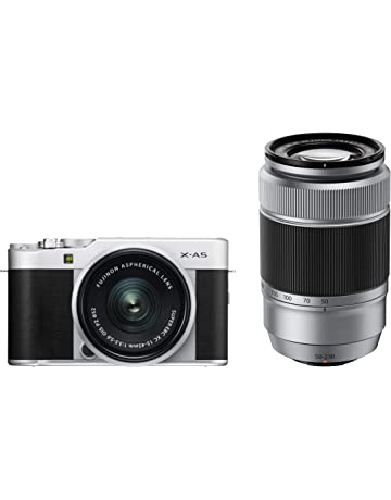Fujifilm X-A5 Mirrorless Digital Camera, Silver with Fujinon XC15-45mmF3.5-5.6 Optical Image Stabilisation Lens and Fujinon XC50-230mmF4.5-6.7 II Optical Image Stabilisation Lens Kit