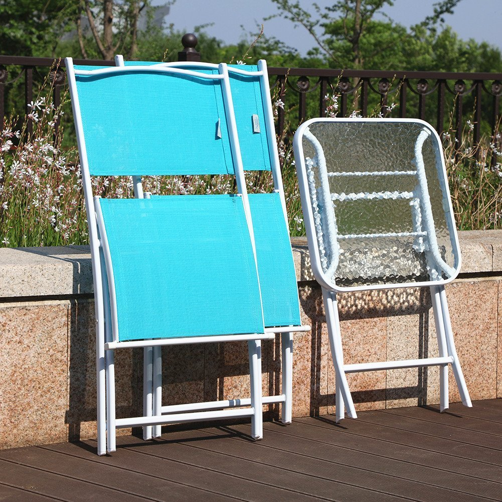 PHI VILLA 3 PC Textilene Portable Foldable Patio Chairs and Table Set, 2 Chairs & 1 Table, Turquiose by PHI VILLA (Image #5)