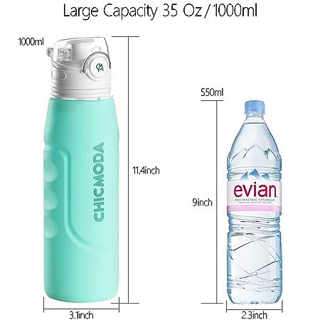 Botella de Agua, CHICMODA Plegable Botella de Agua con Válvula a Prueba de Fugas para deportes, yoga, senderismo, viajes, oficina, universidad coche o en la ...