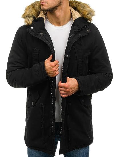 BOLF Hombre Chaqueta de Invierno Parka Larga con Capucha Forrada Estilo Cotidiano AK-Club YL001 Negra XL [4D4]: Amazon.es: Ropa y accesorios