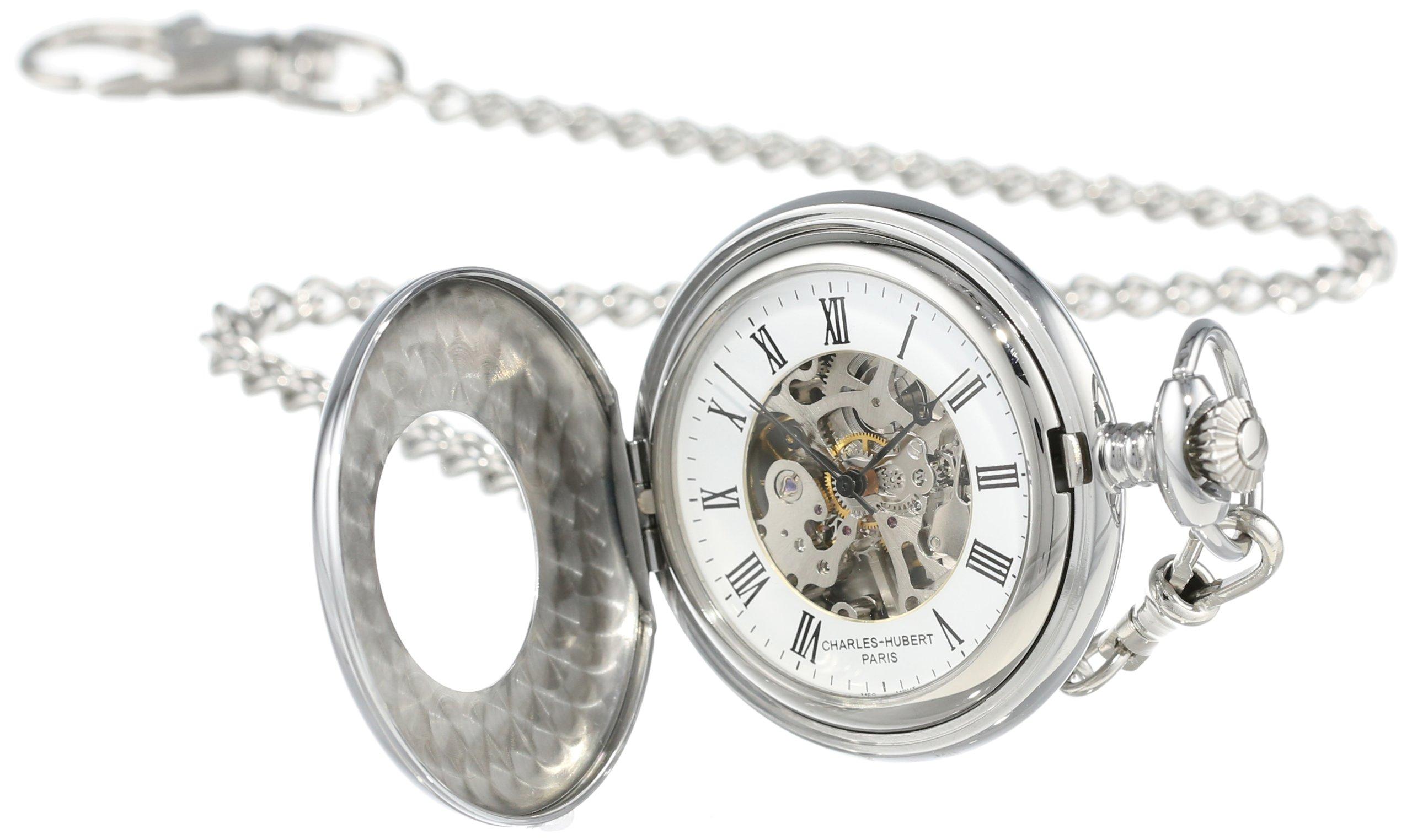 Charles-Hubert, Paris Stainless Steel Mechanical Pocket Watch by CHARLES-HUBERT PARIS
