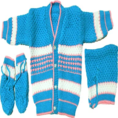 36542fc5fd00 BornBabyKids New Born Baby Woolen Knitted Baby Set - 3Pc suit (Blue ...