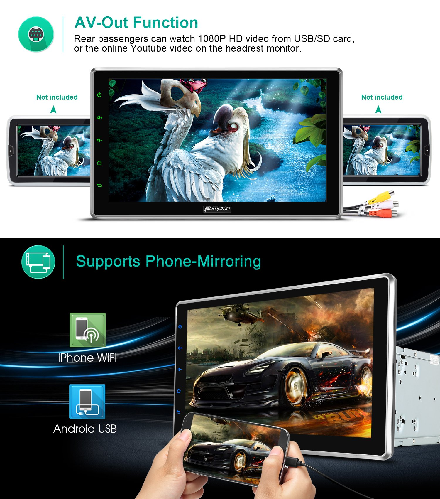 "10.1"" Android 7.1 2GB 32GB Double Din Car Stereo Radio with Bluetooth, GPS Navigation - Support Fastboot, 3G WIFI, USB SD, MirrorLink, Backup camera, AUX, Subwoofer, OBD2, DVR by PUMPKIN (Image #4)"