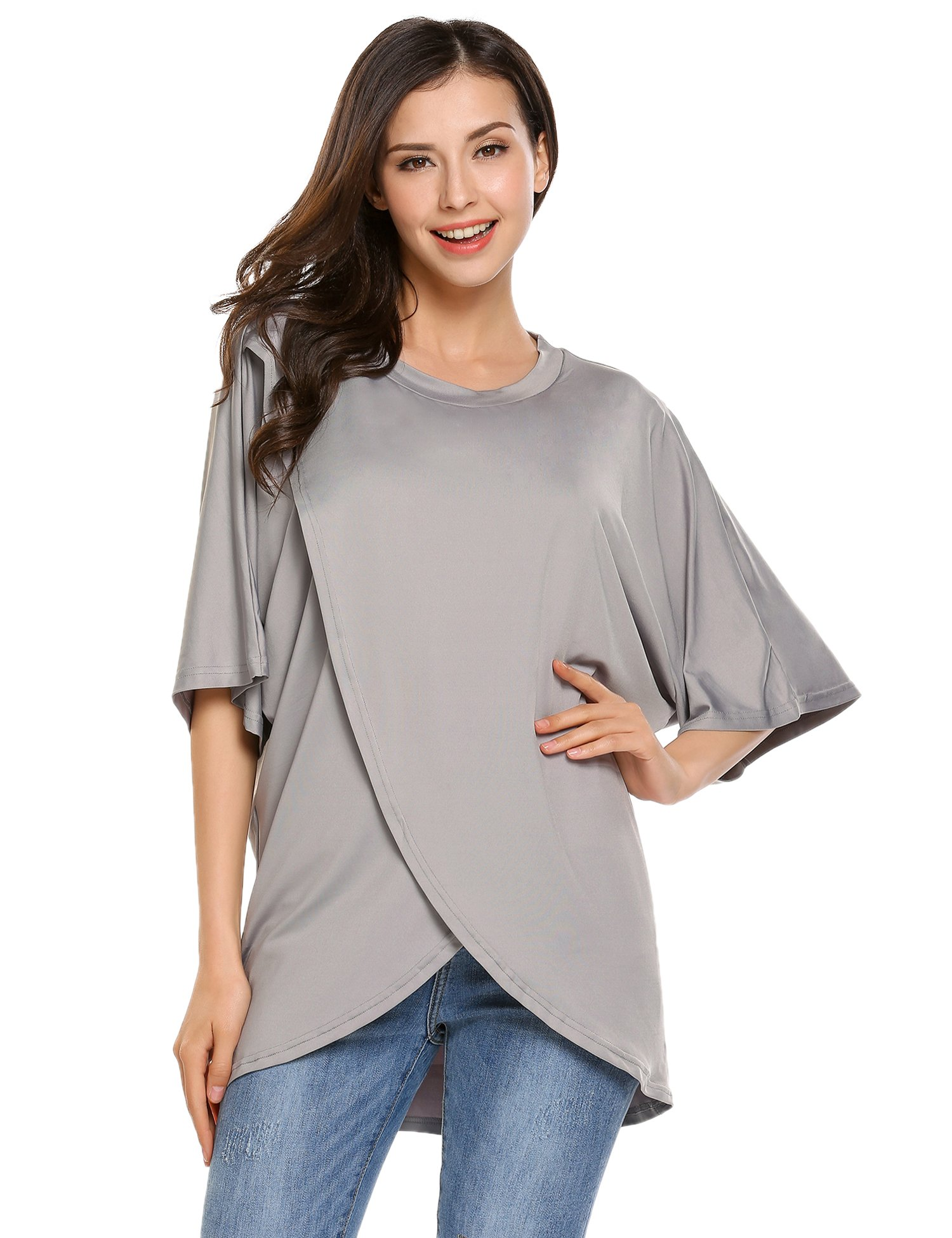 Beyove Women 1/2 Sleeve Round Neck T Shirt Cross Wrap Front Top(Grey,S)