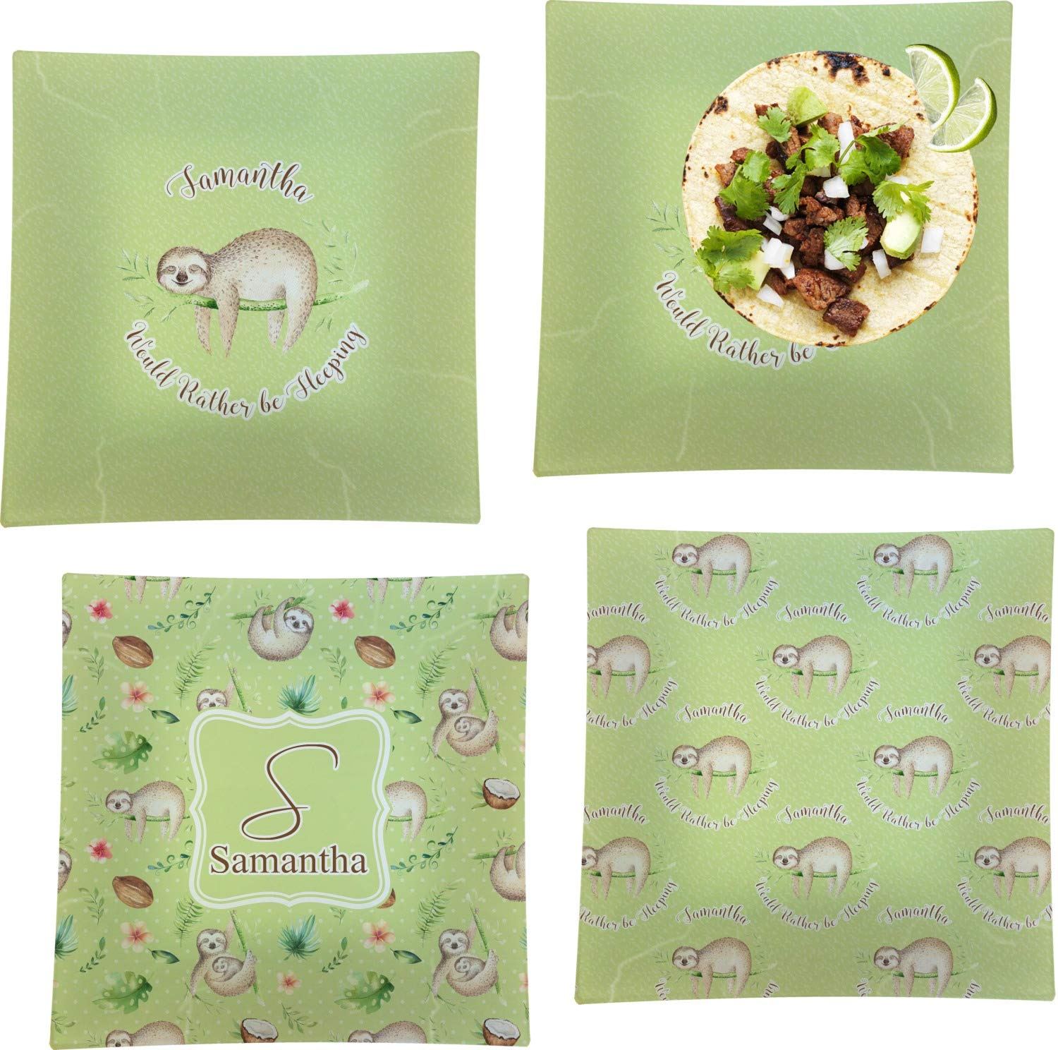 Sloth Set of 4 Glass Square Lunch/Dinner Plate 9.5'' (Personalized)
