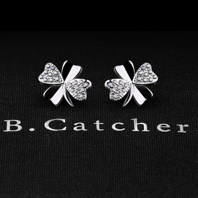B.Catcher Stud Earrings Lucky 925 Sterling Silver Cubic Zirconia Earring Studs jJtdUmvMpj