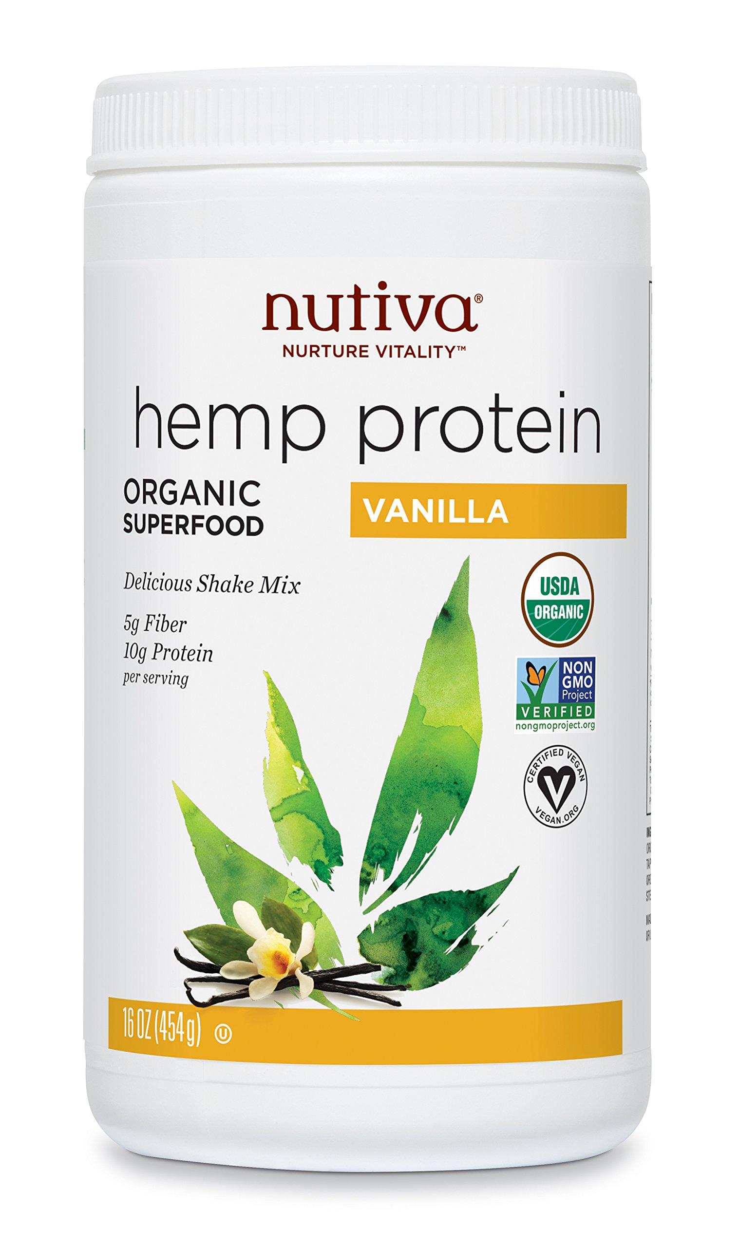 Nutiva Organic, Cold-Processed Hemp Seed Protein from non-GMO, Sustainably Farmed Canadian Hempseed, Vanilla, 16-ounce