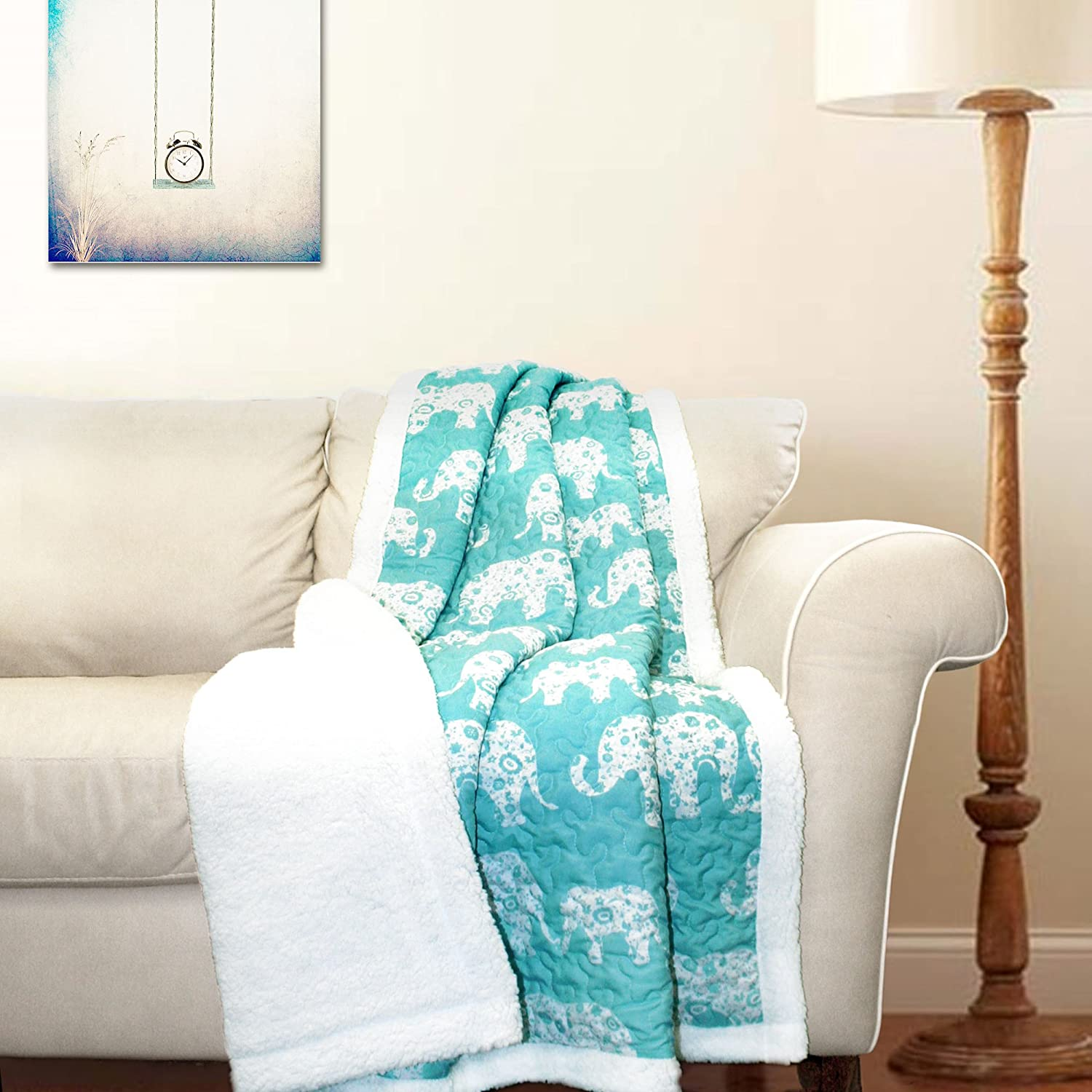 "Lush Decor Elephant Parade Fuzzy Reversible Sherpa Throw Blanket, 60"" x 50"", White and Aqua"
