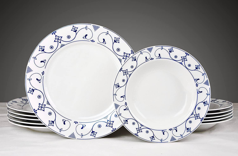 Tafelservice Indisch Blau 12-tlg. weiß mit farbigem Dekor für 6 ...