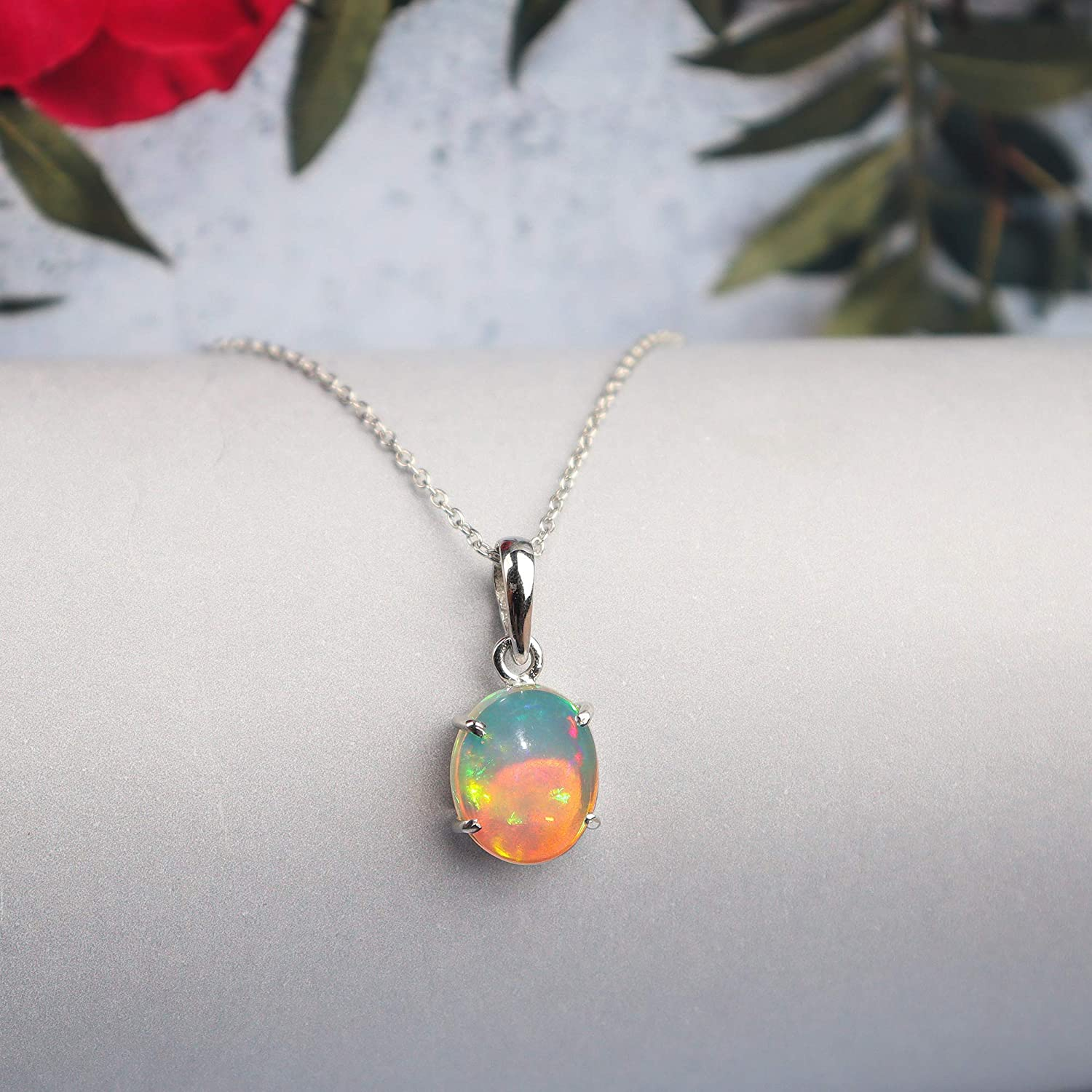 Opal In Pendant| 925 Sterling Silver Pendant For Christmas Gift Vintage Silver Pendant 100/%Natural Ethiopian Polished Opal Gift For Her