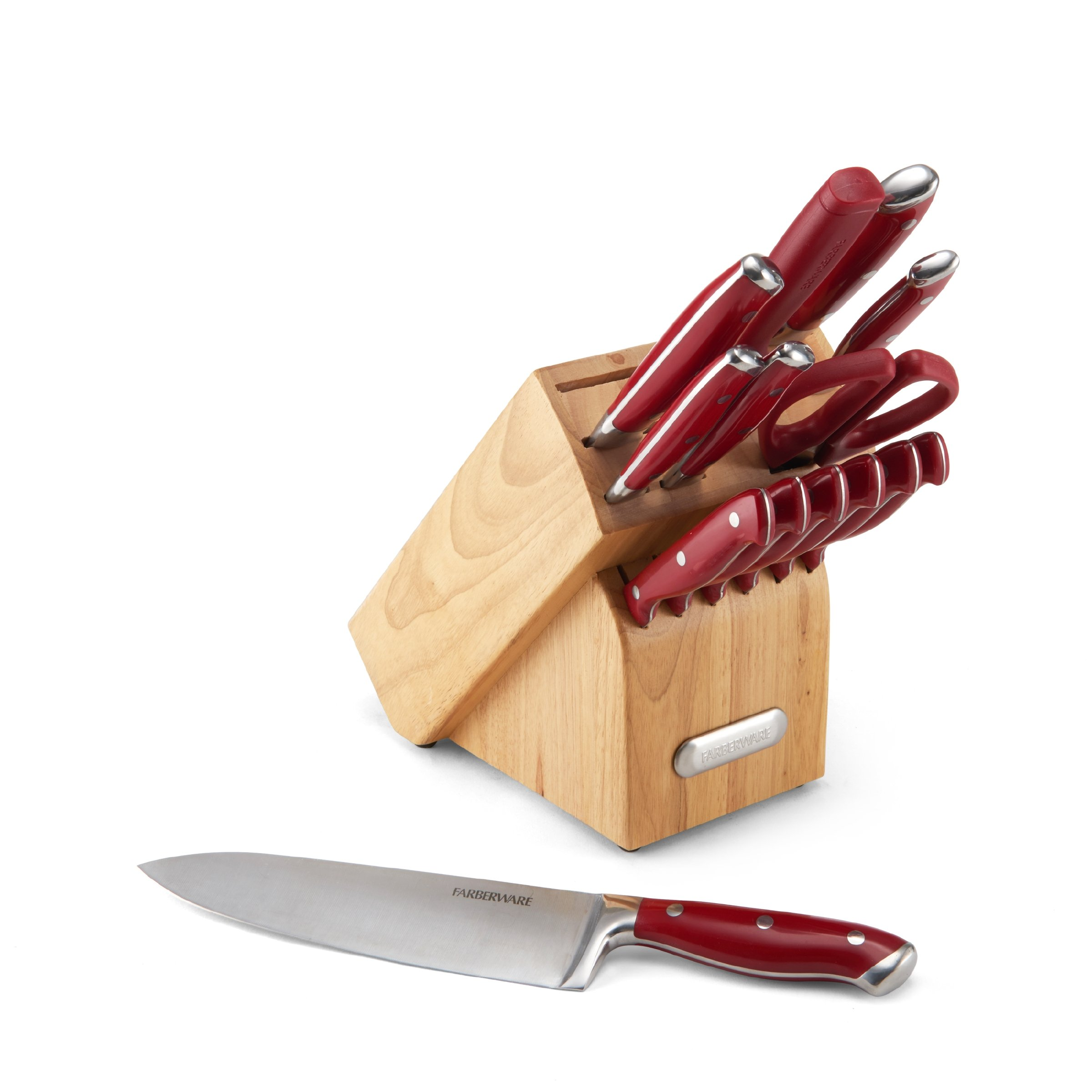 Farberware 5148963 High-Carbon Stainless Steel 15-Piece Forged Triple Riveted Cutlery Set, Red