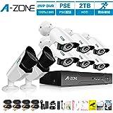 A-ZONE 200万画素タイプ 防犯カメラキット 8CHレコーダー&6台カメラ+2台 ドーム型カメラ ハイビジョン 防水IP67 ナイトビジョン監視カメラiPhone Android スマホ PC 遠隔監視 対応 (2TBHDD付き)