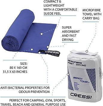 Cressi Fast Drying - Toalla Deportiva de Microfibra Premium - Varios Colores y Tamaños