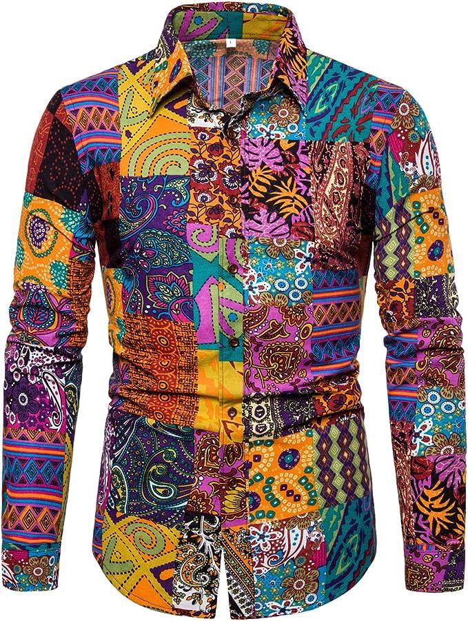1970s Men's Clothes, Fashion, Outfits Emaor Mens Stylish Floral Long Sleeve Shirt & Short Sleeve Shirt $24.68 AT vintagedancer.com