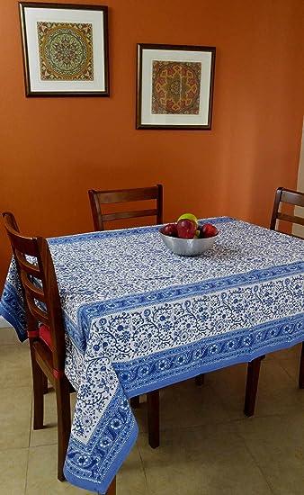 Rajasthan Block Print Tablecloth 60u0026quot; X 90u0026quot; Rectangle
