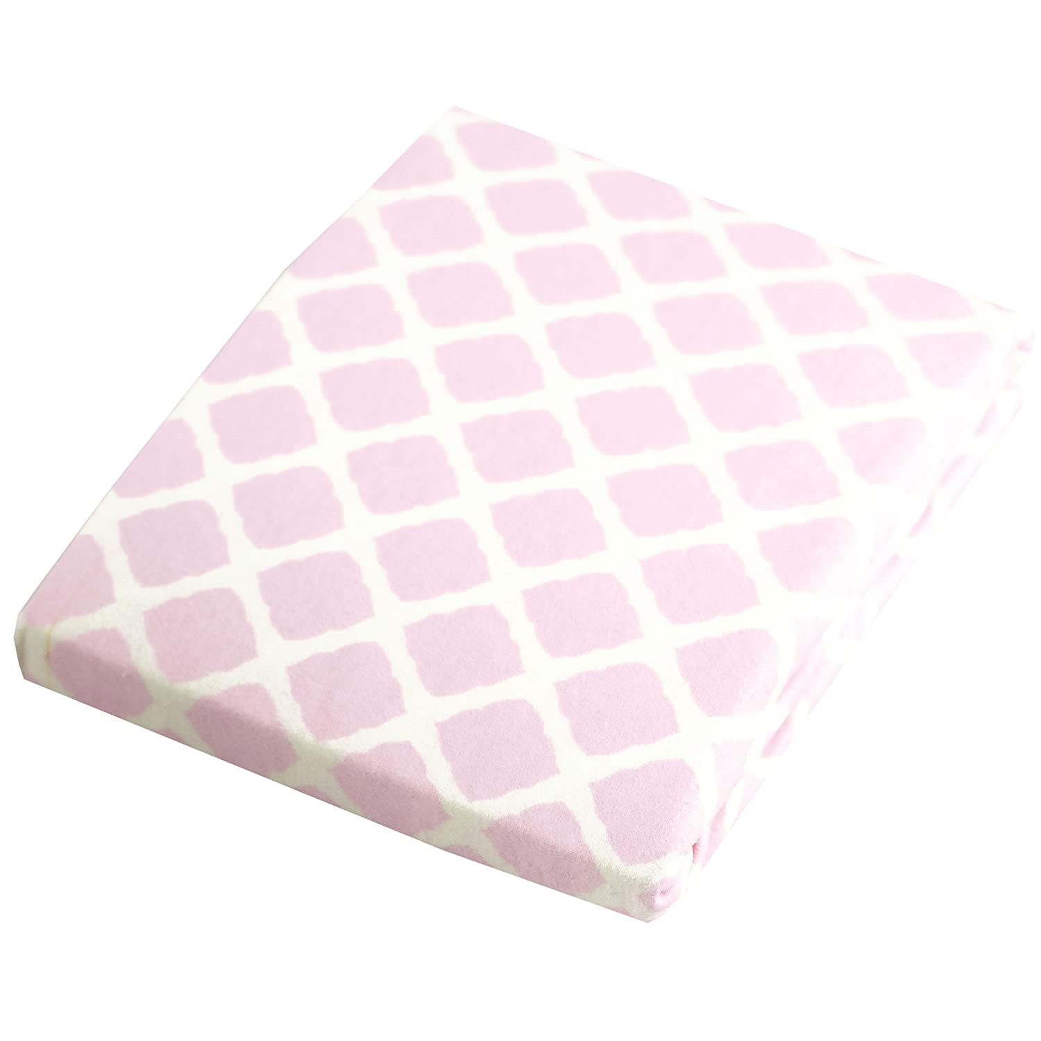 Kushies Changing Pad Cover for 1 pad, 100% breathable cotton, Made in Canada, Pink Lattice Kushies Baby S340-584