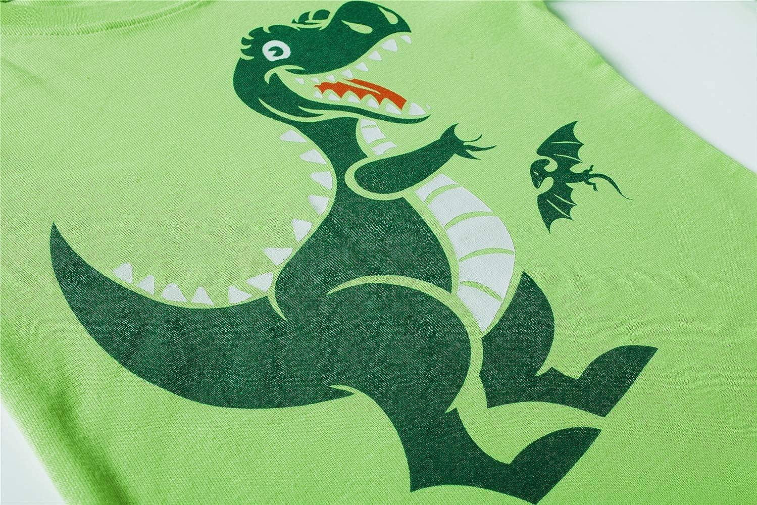 MOSCARE 100/% Cotone 2 Pezzi Pigiama per Bambini con Dinosauri