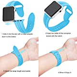 Junboer Compatible Apple Watch Series 3 Bands, Soft Silicone Replacement Sports Strap + Watch Lugs for iWatch 38mm 2017 Series 3/2 / 1