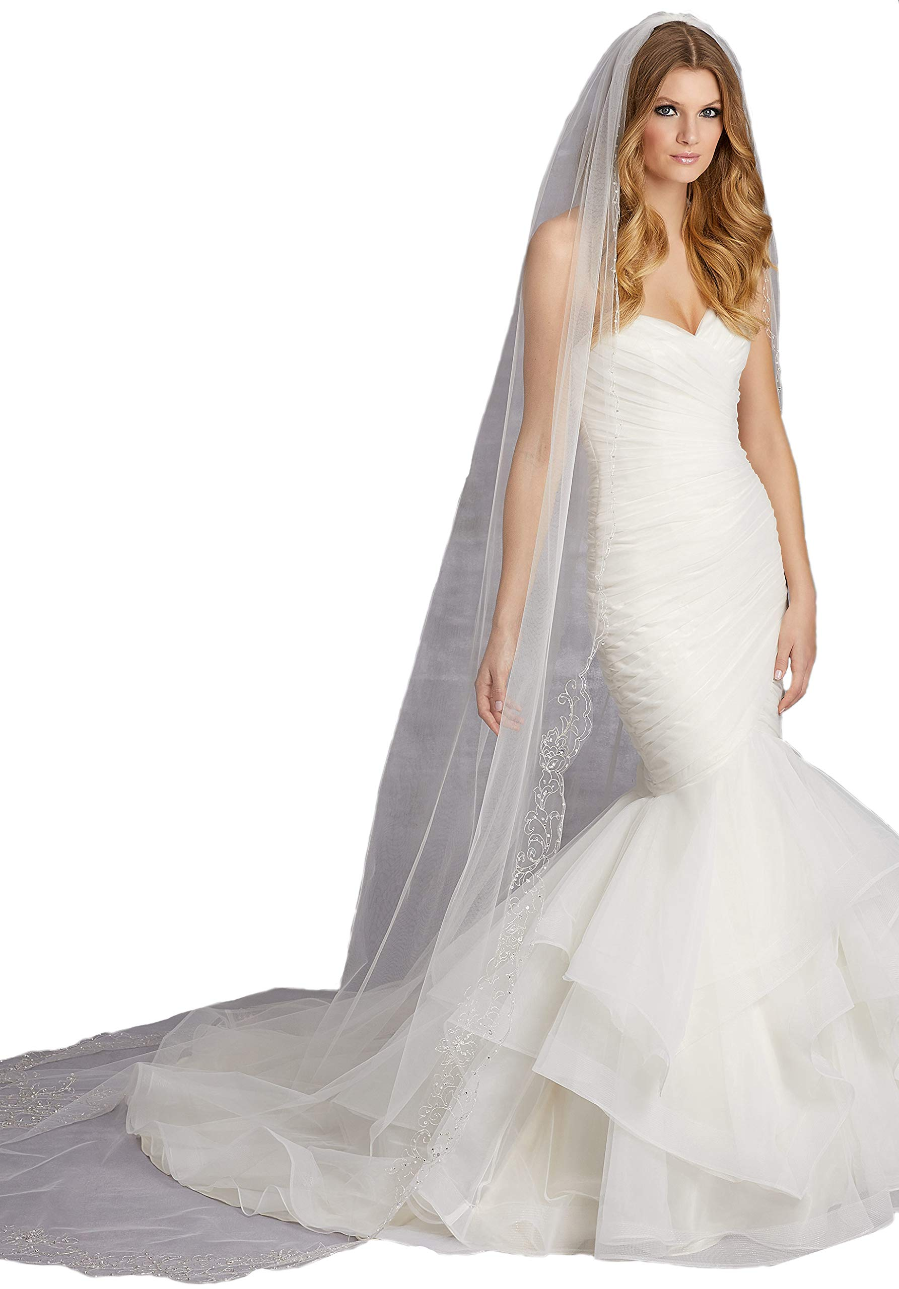 Passat Ivory Single-Tier 3M Cathedral Veil with Heavily Beaded EmbroiderySequins Beads and Rhinestones VL-1029