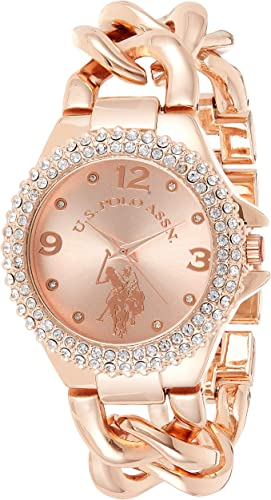Amazon.com: U.S. Polo Assn. Women's Quartz Stainless Steel and Alloy Watch, Color:Rose Gold (Model: USC40226): Watches