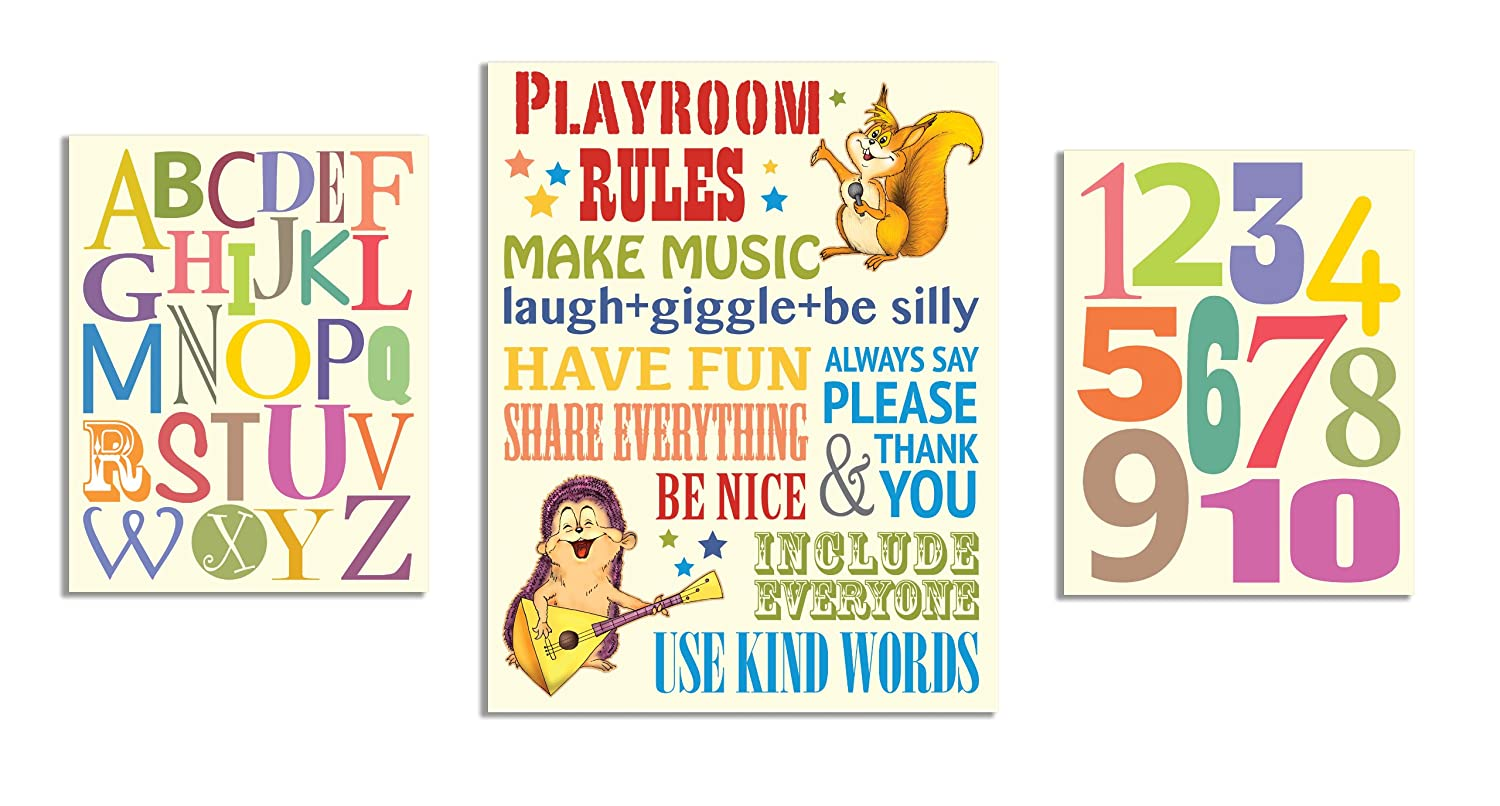 The Kids Room by Stupell Playroom Rules; Alphabet; Numbers 3-pcs. Multi-Size Wall Plaque Set zrp-106