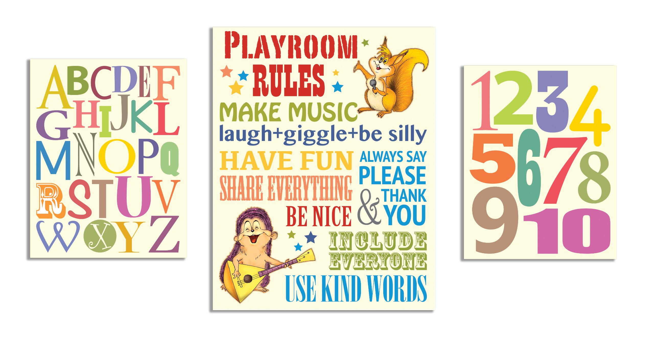 The Kids Room by Stupell Playroom Rules; Alphabet; Numbers 3-pcs. Multi-Size Wall Plaque Set by The Kids Room by Stupell