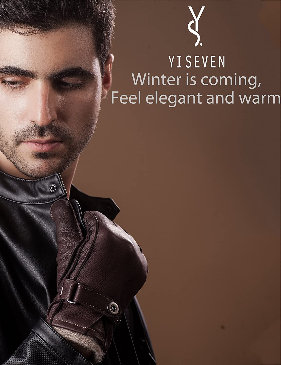 YISEVEN Mens Winter Cashmere Lined Genuine Deerskin Dress Leather Gloves
