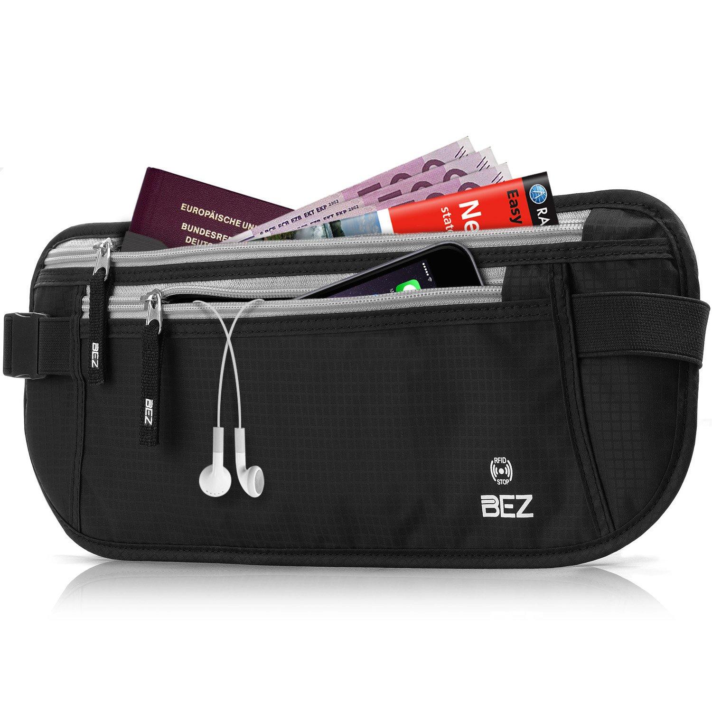 Money Belt for Travelling - BEZ™ Hidden Travel RFID Money Belt Waist Pouch, Waterproof, Lightweight Passport Travel Wallets RFID-11070