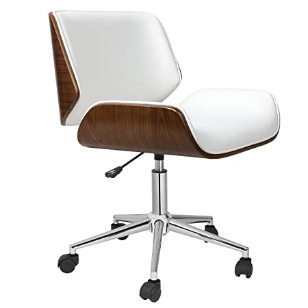 Porthos Home KCH019A WHT Dove Office Chairs in Mid-Century Modern Design with Leather Upholstery, Wooden Accents, Stainless Steel Legs, Roller Wheels Adjustable Height, White