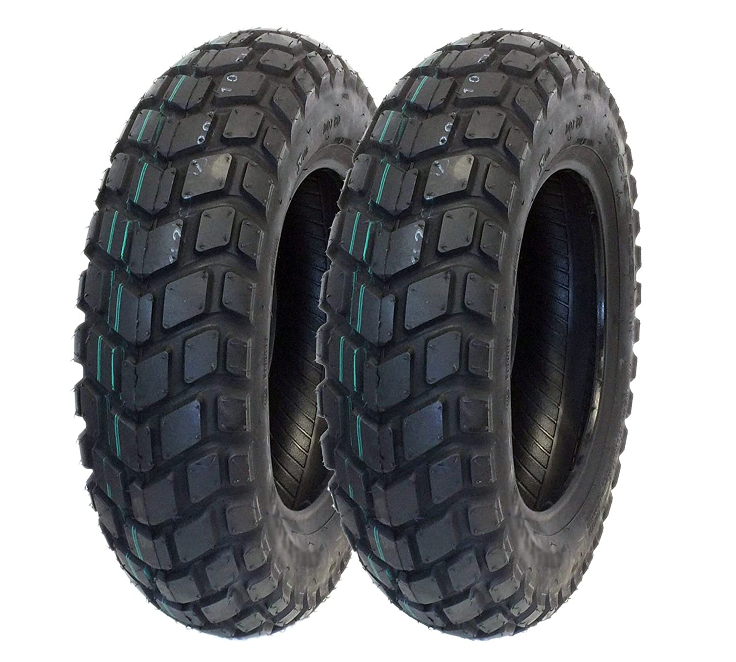 MMG Tire Set Front Tire 120/90-10 Rear Tire 130/90-10 fits on Honda Ruckus,  Kymco Cobra Cross Racer (P126)