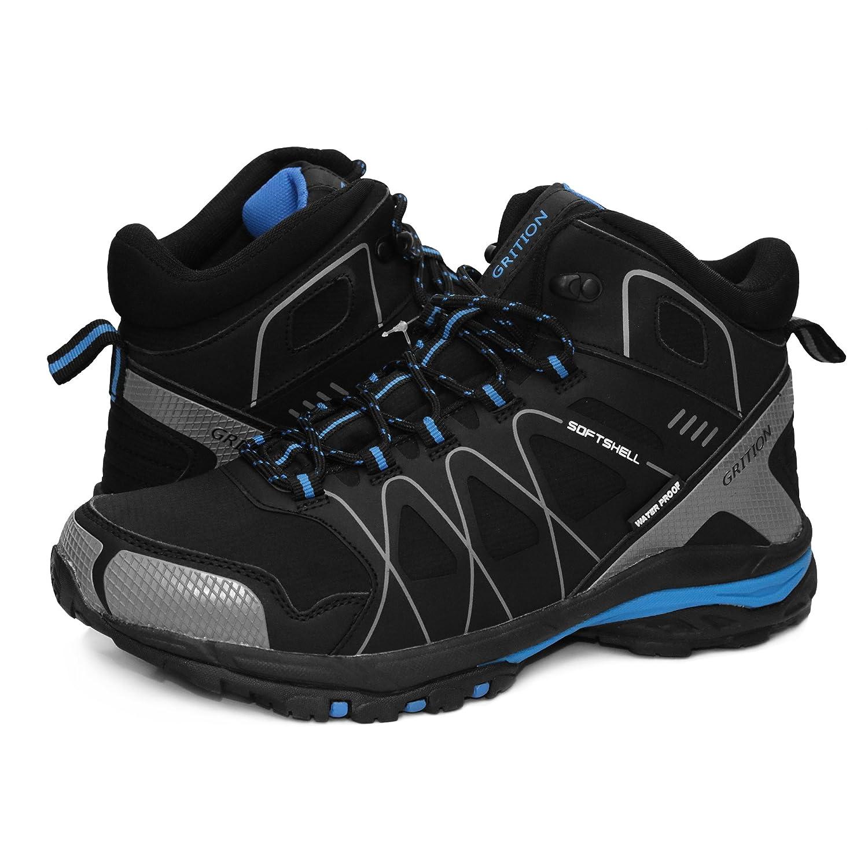 Herren Wanderschuhe, GRITION Wasserdicht Slip On Running Wanderschuhe Outdoor Leichte Schnürschuhe Trainer Knöchelschutz Winter Warm Atmungsaktive Schuhe (46 EU, High Rise)