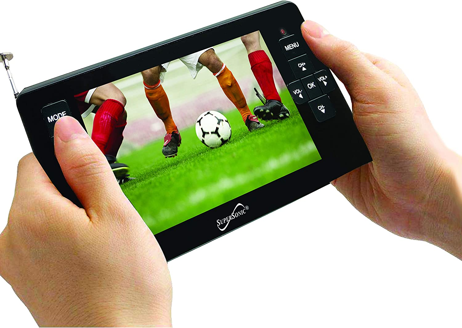 """Supersonic SC-143 4.3/"""" LED Portable//Pocket TV Rechargeable//USB//Micro-SD Remote"""