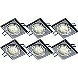 Spot carré TG6736S-06B 6x, au design de luxe, en verre noir et en aluminium inclus. Ampoule LED 6x 3000K 3 W GU10 LM et boîtier de connexion direct GU10, 230V.