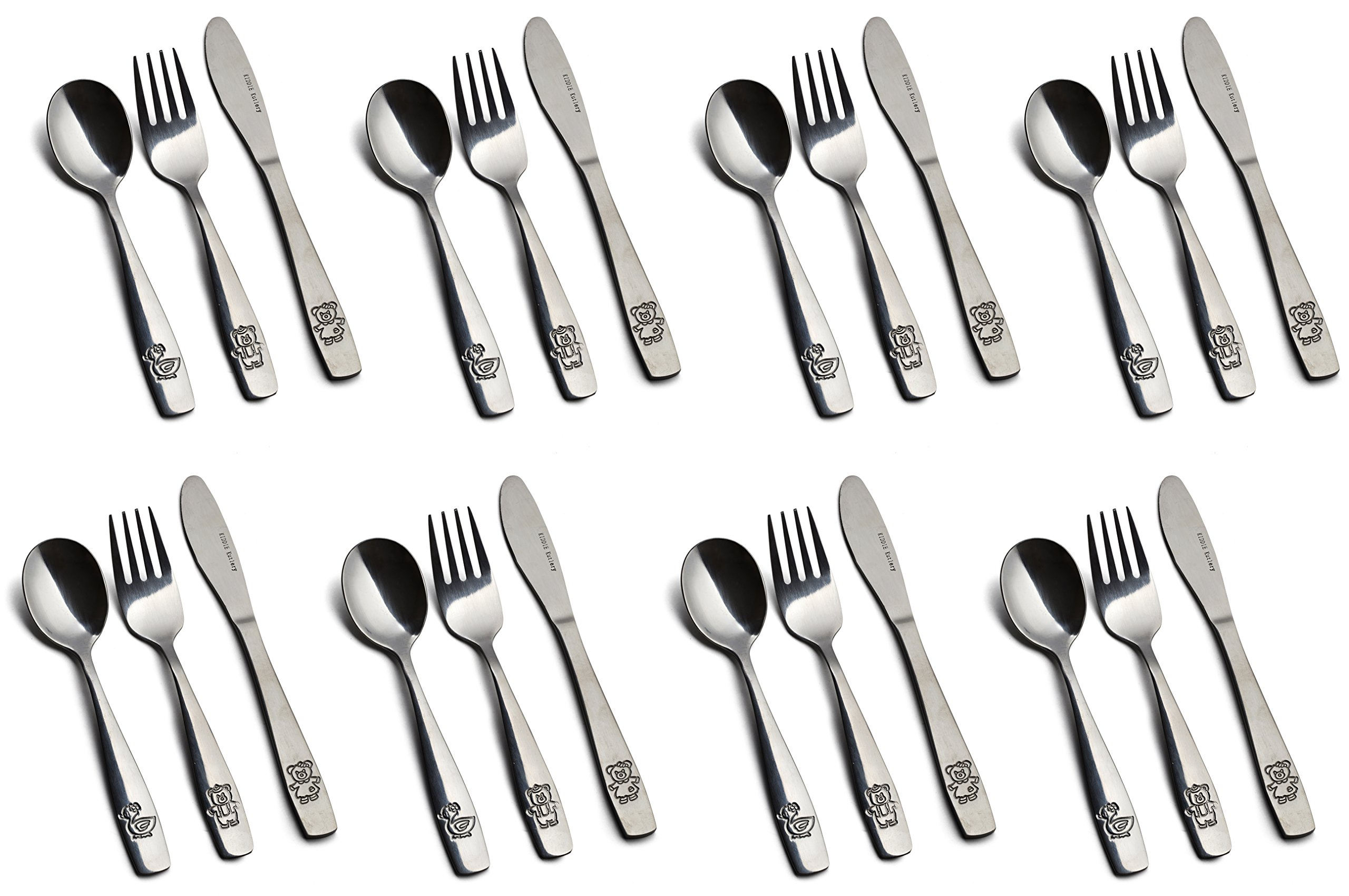 24 Piece Stainless Steel Kids Cutlery, Child and Toddler Safe Flatware, Kids Silverware, Kids Utensil Set Includes 8 Knives, 8 Forks, 8 Spoons, Total of 8 Place Settings, Ideal for Home and Preschools by GlossyEnd (Image #1)