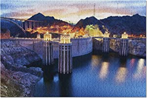 Boulder, Nevada - View of The Hoover Dam at Night with Lights On 9013182 (Premium 500 Piece Jigsaw Puzzle for Adults, 13x19, Made in USA!)