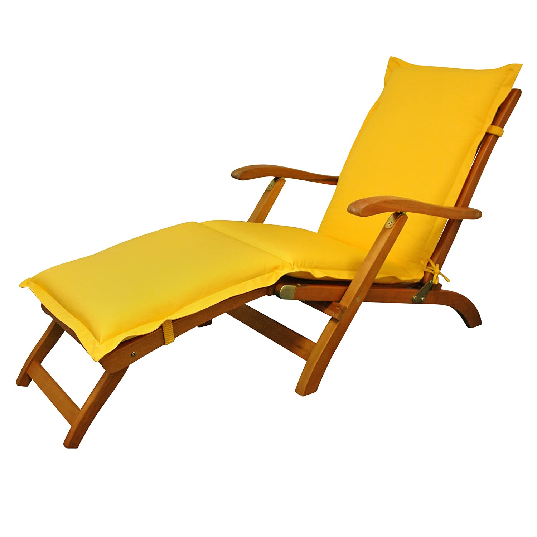 IND-70446-AUDC Deck Chair Auflage Premium, extra dicke Polsterauflage für Liegestuhl mit Reißverschluss, 190 x 50 x 9 cm, Gelb