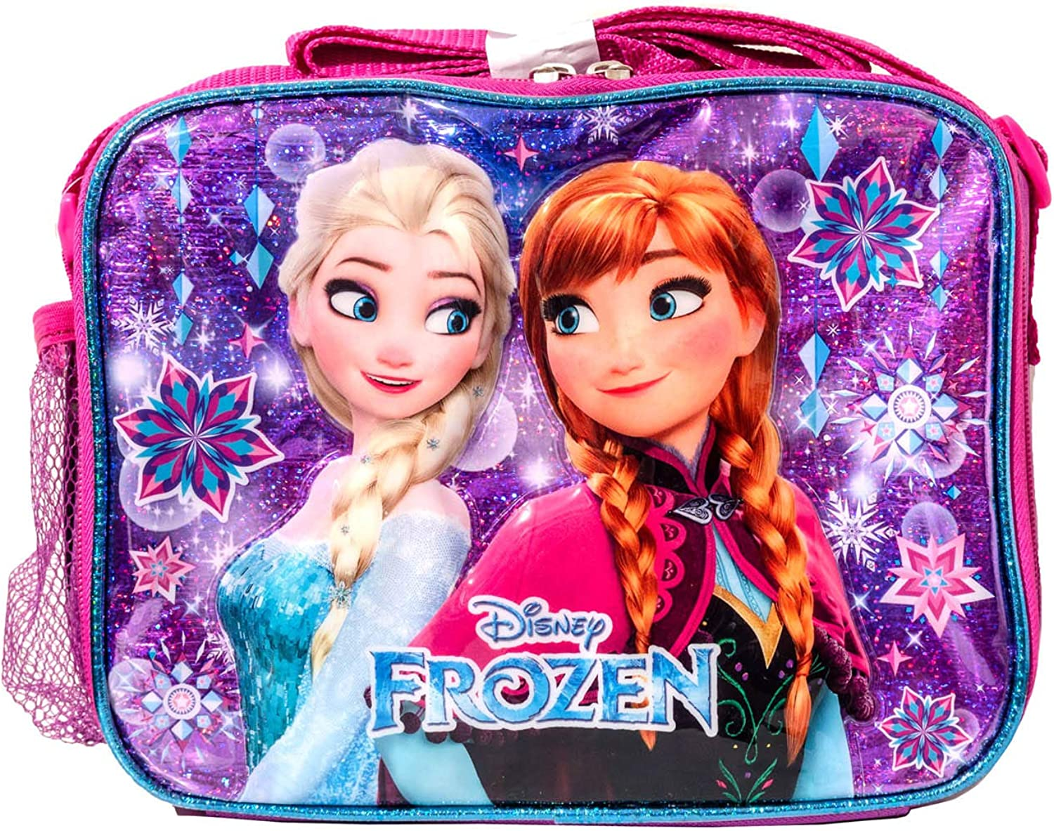 Disney Frozen Girls School Backpack with Lunch Kit /& Pencil Case 15 Inch