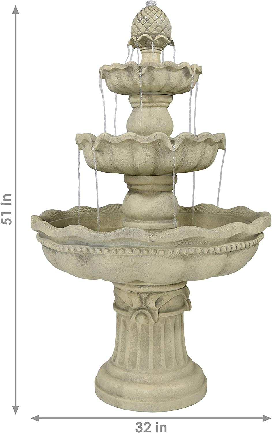 Amazon Com Sunnydaze 3 Tier Outdoor Water Fountain With Pineapple Top Large Outside Floor Waterfall Fountain Feature For Garden Backyard Patio Porch Or Yard White 51 Inch Sunnydaze Decor Kitchen Dining