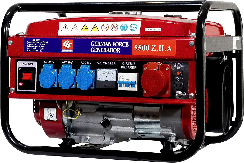 GERMAN FORCE GENERADOR ELECTRICO Gasolina 15L 4 ENCHUFES (1000W+1000W +1000W+2500W) TRIFASICO MONOFASICO Motor 4T Modelo SIN Ruedas Gasolina Y Aceite NO Incluido