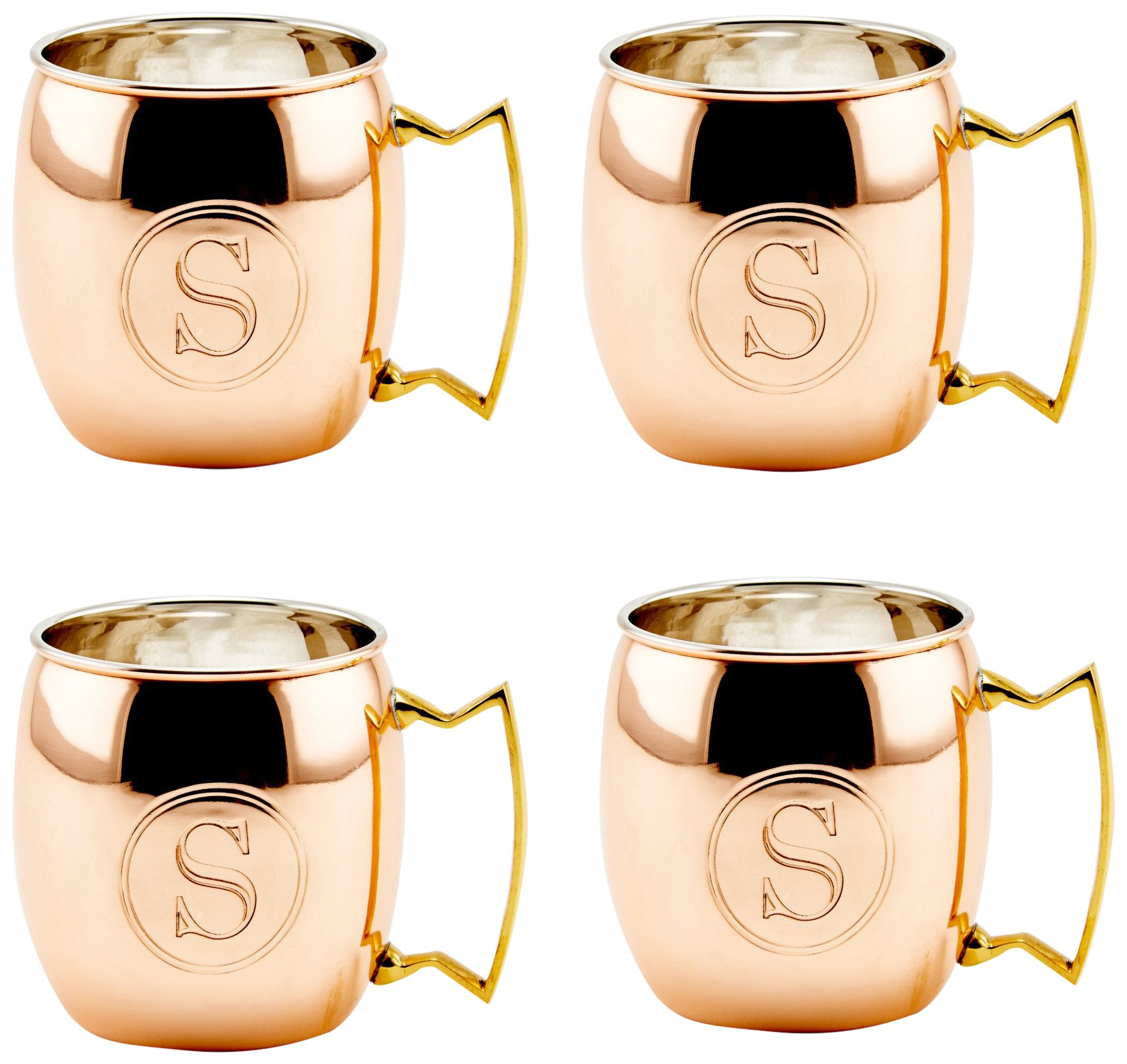Old Dutch International Solid Moscow Mule Mug, 16-Ounce, Monogrammed S, Copper, Set of 4