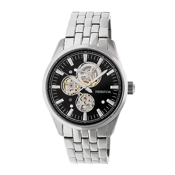 Heritor Stanley semi-skeleton reloj, negro/plata, herhr6502: heritor automatic: Amazon.es: Relojes